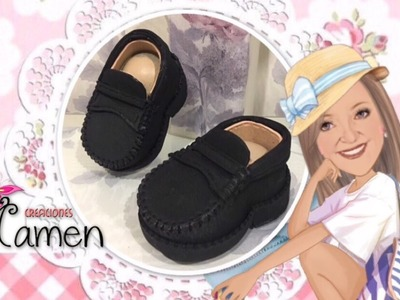 Como hacer unos zapatos- mocasines de caballero con gomaeva - foamy Creaciones Mamen