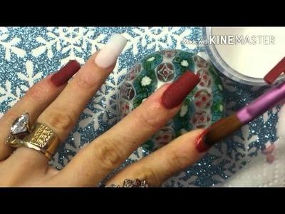 """Diseño de uñas acrílicas en punta """"C"""" (color vino matte, para Christmas❄????"""