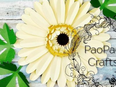 Margarita Gigante de papel | Flores de papel | Moldes GRATIS | How to make Giant Gerbera Daisy