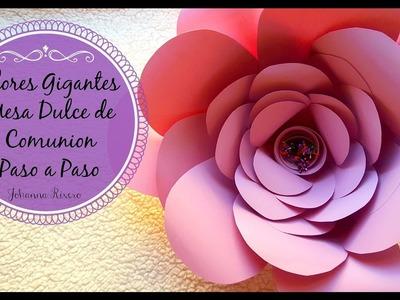 Mesa Dulce PASO A PASO, 1er paso FONDO con FLORES de Cartulina ROSA MORADA