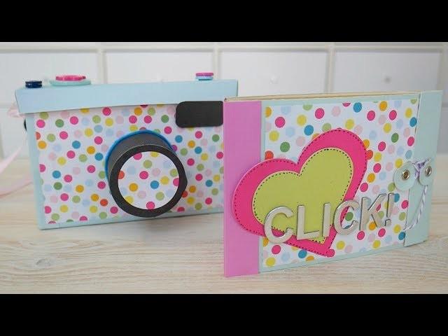 Mini álbum con sobres para caja cámara de fotos. Tutorial Scrapbooking