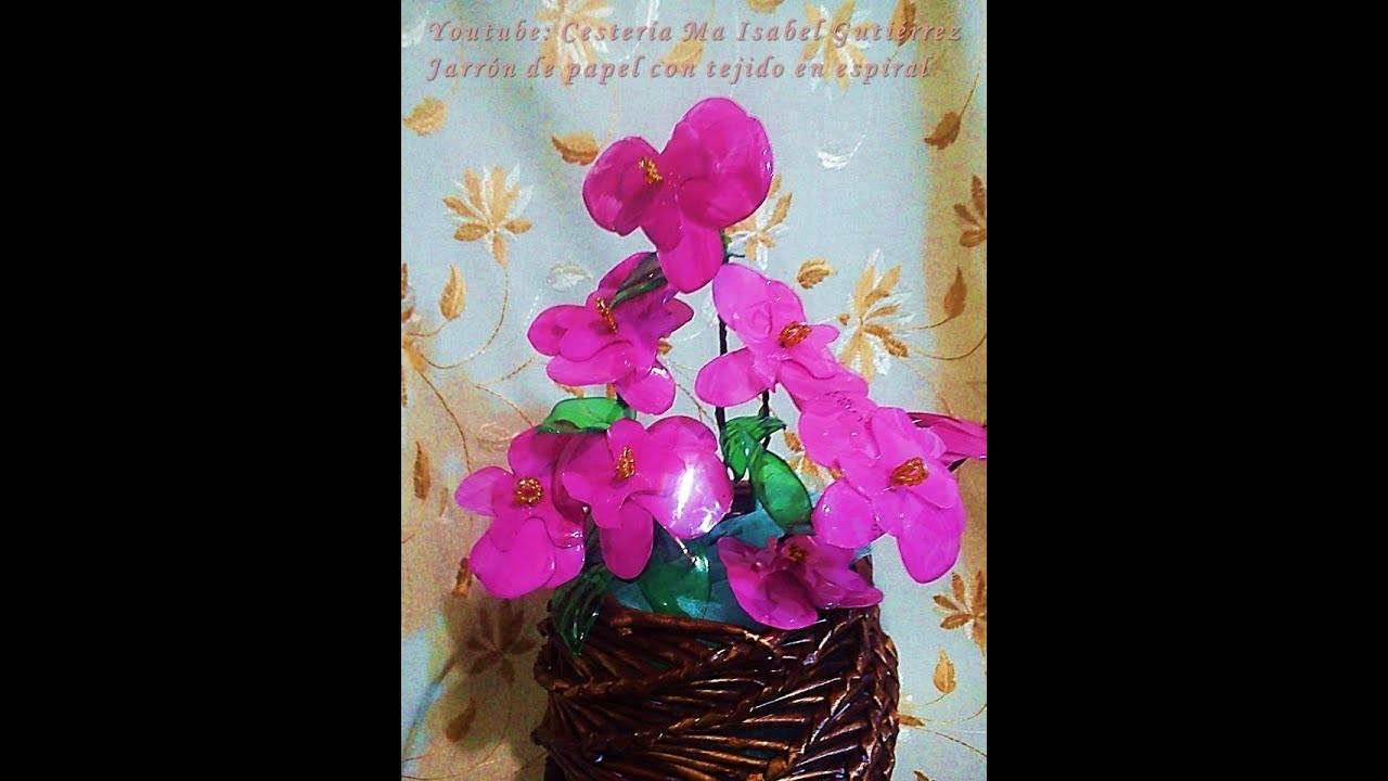 Orquídeas hechas de botellas de plástico desechable. DIY