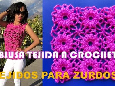 PARA ZURDOS: Blusa a crochet con motivos de flores paso a paso en español