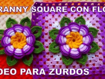 Para ZURDOS Cuadrado o grany square con flor rosita lila tejida a crochet y hojitas paso a paso