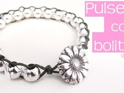 Pulsera Bolitas Plateadas. Bracelet Silver Beads