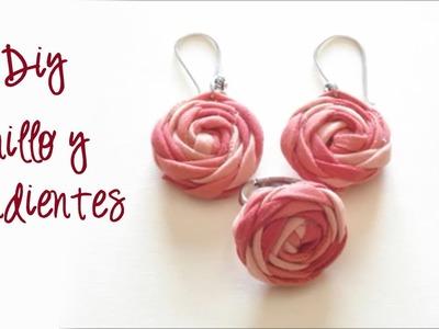 Rosas fáciles, anillo y pendientes