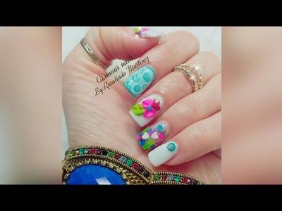 Uñas Blancas muy cortitas con técnica de ventana & 3d (Valentines nails♡