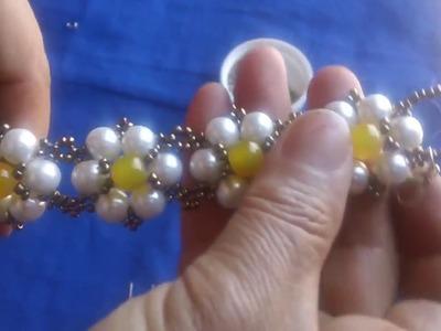 Brazalete de perlas paso a paso
