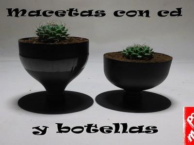 Como hacer macetas con botellas de plástico. How to make pots with plastic bottles