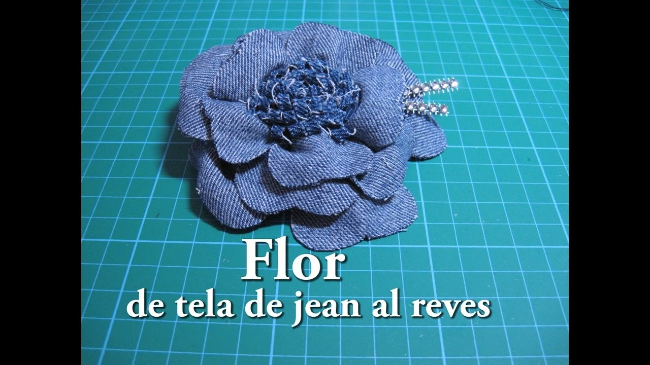 #DIY -#Flor de tela de jean al reves #DIY - # Flower jean fabric backwards