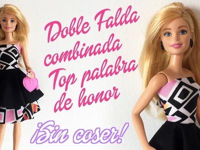 Doble falda de capa combinada y top palabra de honor para Barbie ¡Sin coser!