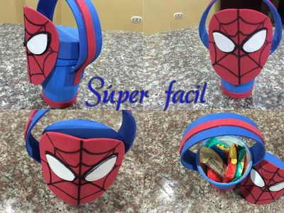 Dulcero hombre araña súper facil, spiderman easy birthday bag