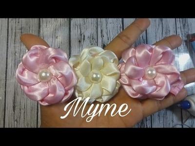 Flor en cinta satinada, pétalo a pétalo, tutorial completo de tiara