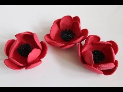 Flores  Amapolas en fomi (goma eva). ideas y manualidades