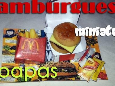 HAMBURGUESA Y PAPAS MINIATURA PARA MUÑECAS restaurante 1