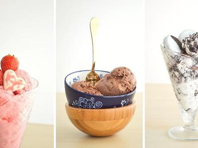 Helados Caseros Sin Maquina???? Super Fácil y Rápido ☆ Chocolate, Brownie, Oreo, Frutilla || Tan Dulce