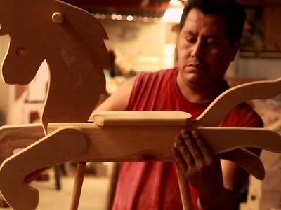 Caballito mecedor - Juguetes de madera mexicanos San Antonio la Isla