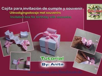 Cajita,  invitación de  cumpleaños con  souvenir.Uitnodigingsdoosje voor verjaardag met souvenirs.