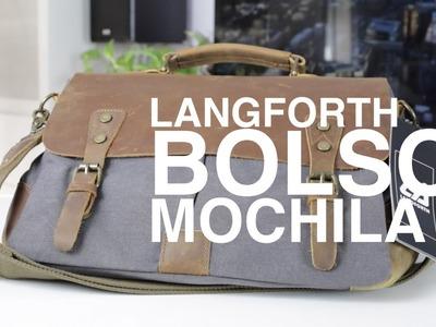 Cartera, mochila, bolso de cuero retro de Langforth