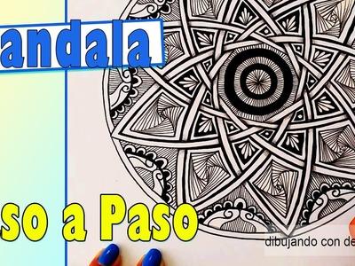 Como dibujar un Mandala Paso a Paso #3,  como dibujar una estrella de 9 puntas