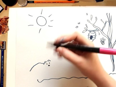 Como dibujar una Colmena - dibujos para niños