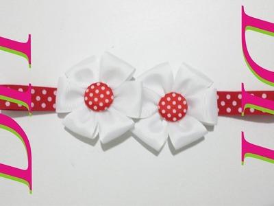 Como Hacer Lazos DIY #3  Lazo Doble Flor 6 Petalos