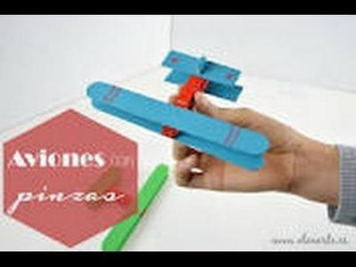 Como hacer un avion con pinzas