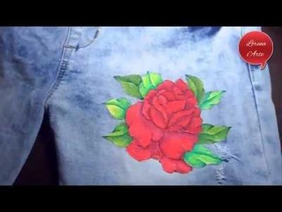 Como Pintar una Rosa en Jeans. Customiza tu ropa Parte 1