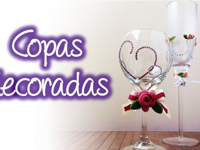Copas decoradas con rosas de pasta francesa, Decorated drinking glasses with roses of cold porcelain