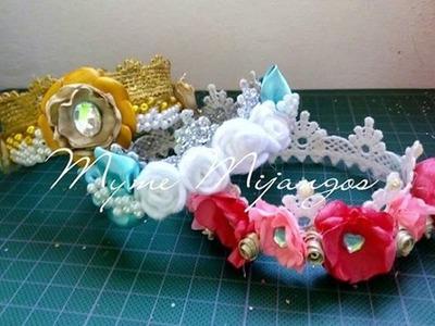 Coronas de ENCAJE o GUIPIUR.Coronas con flores. Crown with flower.Parte 1