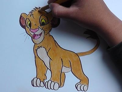 Dibujando y pintando a Simba (Rey Leon) - Drawing and painting Simba