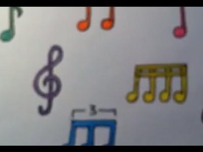 Dibujar notas musicales de colores