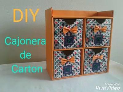 DIY Cajonera de Carton. Organizador de papelao