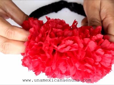 DIY Diademas con flores para Catrina o Calavera
