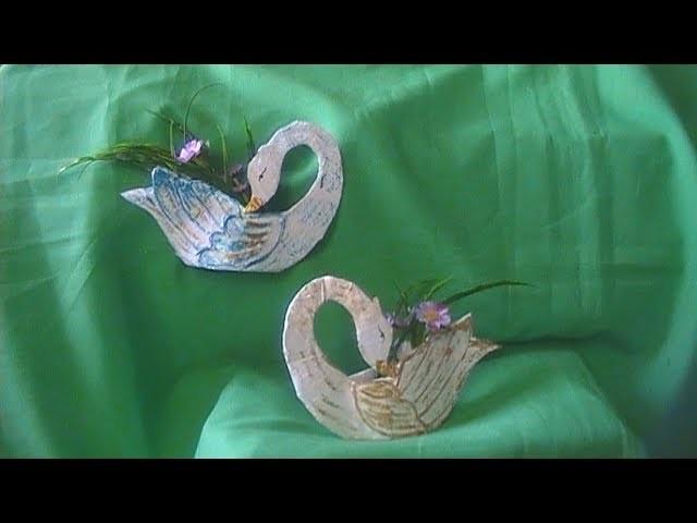 Facil   cisne   adorno para la pared  hecho de carton