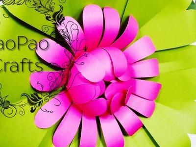 FLOR GIGANTE DE PAPEL | FLORES DE PAPEL  | MOLDES GRATIS | HOW TO MAKE PAPER FLOWER