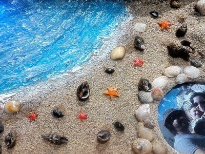 Maqueta cuadro o diorama playero con conchas y leds (Manualidad recuerdo vacaciones)