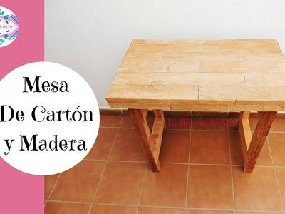MESA CON CAJAS DE CARTÓN Y MADERA DIY