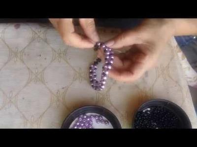Pulsera de perlas y chaquiron muy sencilla