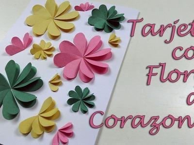 TARJETA CON FLORES DE CORAZONES