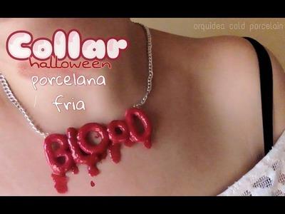Collar de letras sangriento #Halloween PORCELANA FRIA Blood Necklace