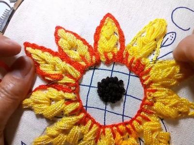Como hacer el centro del girasol facilmente Sonia R.A.
