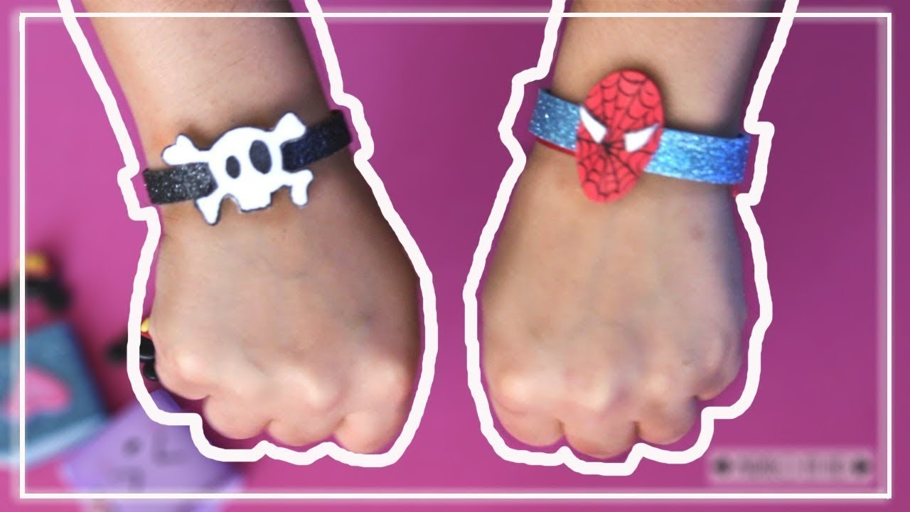 Como hacer pulseras de goma eva faciles   How to make foam bracelets   Bracciale con gomma crepla