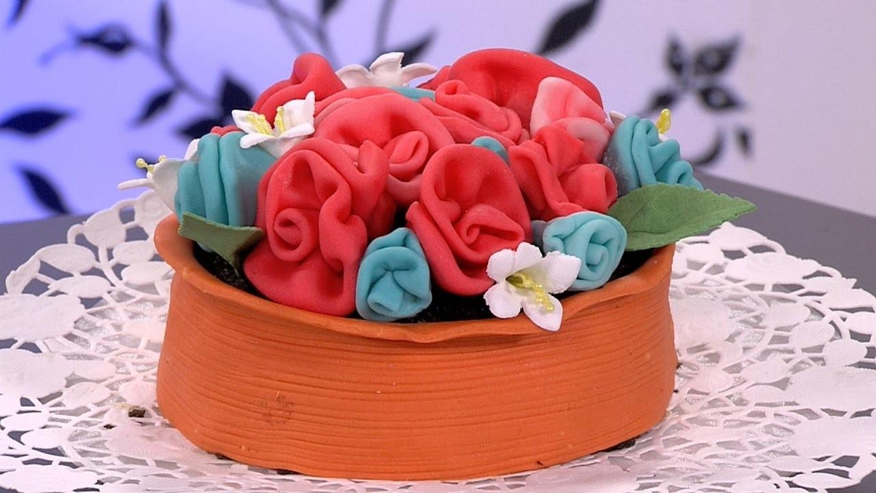 Como Hacer una Matera con Flores de Colores en Fondant- HogarTv por Juan Gonzalo Angel
