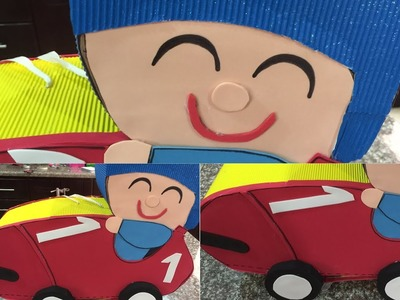 Como hacer una piñata pocoyo facil en forma de auto o carro