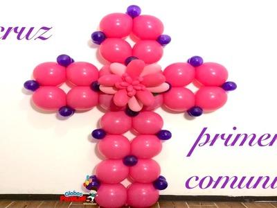 Cruz para primera comunión o bautizo muy facíl de hacer con globos!! #98