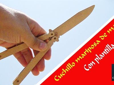 Cuchillo mariposa de madera con plantillas