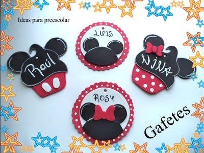 Gafetes Mickey y Minnie para el nuevo ciclo escolar