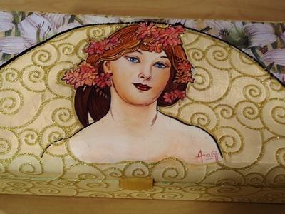 Retrato  caja pintada con acrilicos por Ana Gjurinovich