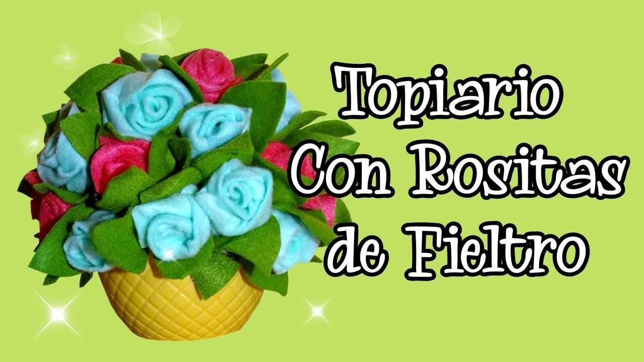 Topiario con Rosas de Fieltro - Arreglo con Flores de Fieltro